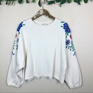Zara • Cropped Sweatshirt With Floral Embroidery